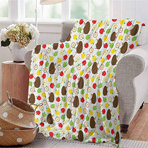 Luoiaax Hedgehog Children's Blanket Cute Baby Mammals with Lively Colored Apples Cut in Half Food Cheerful Wildlife Lightweight Soft Warm and Comfortable W60 x L70 Inch Multicolor