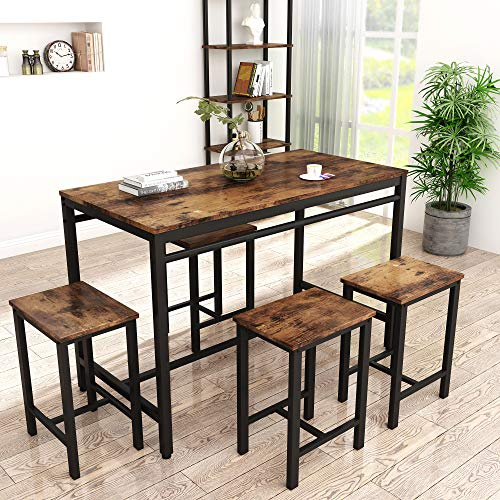HCWORLD, 5 Pieces Dining Set, Kitchen Table and Chairs with 4 Bar Stools, Perfect for Breakfast Nook, Living Room(Rustic Brown)