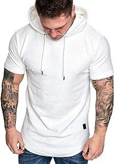 VPASS Hombre Camisetas, Camiseta Hombre Verano Manga Corta Color sólido Sudadera con Capucha Moda Diario Slim Fit Casual Camiseta T-Shirt Polos Blusas Camisas Suave básica Camiseta Tops vpass