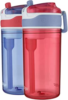 Contigo Snack Hero Water Bottle Set, 2-in-1 Water Bottle with 4oz Snack Compartment & 13oz Spill-Proof Water Bottle - Red...