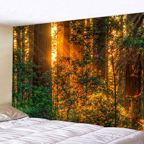 Tapiz para dormitorio Bosque planta paisaje tapiz paisaje paisaje natural tapiz pared manta hippie colcha decoración del hogar