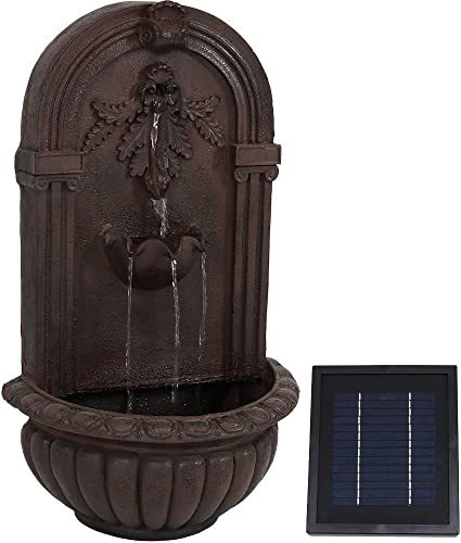 wholesale Sunnydaze Florence Solar with Battery Backup Outdoor Wall Mounted Water Fountain - Outdoor discount Water Feature with Rechargeable Solar Battery - Iron - new arrival 27-Inch online sale