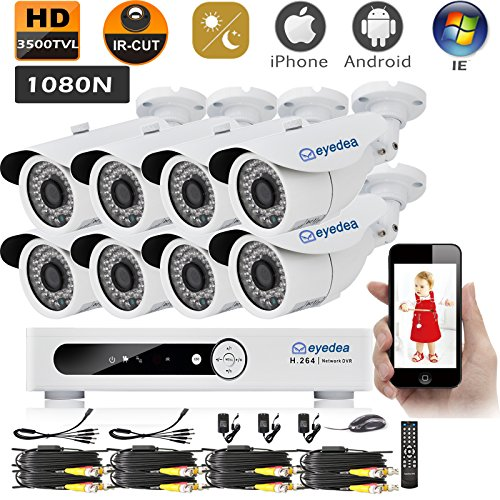 Eyedea 8CH 3500TVL 1080N Remote Mobile Phone View Standalone Network HDMI DVR 960P Bullet Video Surveillance Waterproof Outdoor CMOS Infra Red LED Night Vision Home CCTV Security Camera System