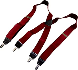 Holdup Suspender Company Bordeaux Burgundy satin finished X-back Holdup Suspenders with Silver tone no-slip clips