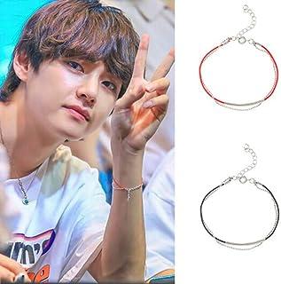 Teblacker 2 Pack BTS Bracelet | Unisex Kpop Bangtan Boys Band Member V Same Style Wristband Wristlet | Best Gift for The Army
