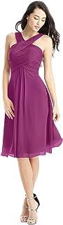 ANGELWARDROBE Women`s V Neck Short Homecoming Dresses for Juniors Bridesmaid Dress Chiffon Knee Length Prom Gown