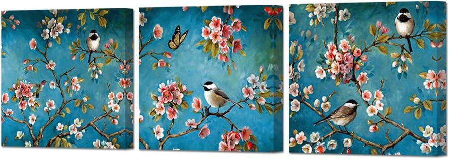 ArtBones Flower Bird Pictures Wall Decor Bird On Tree Branches Framed Canvas Artwork 12