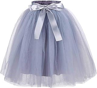 Zcaynger Girls Tulle Skirt Tutu Dancing Dress 5-Layer Fluffy with Ribbon