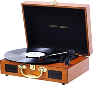 Musitrend Record Player Vinyl Turntable with Speakers, 3 Speed Suitcase Record Player Support Vinyl-to-MP3 Recording, Headphone Jack, Aux Input/RCA line Out (Wood)