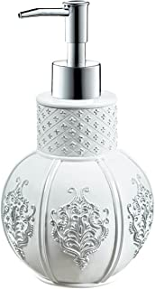 "Creative Scents Vintage White Hand Soap Dispenser (4.25"" x 4.25"" x 7.75"") Countertop Decorative Lotion Pump, Resin Sink Shower Dispensers, for Elegant Bathroom Decor White/Silver"