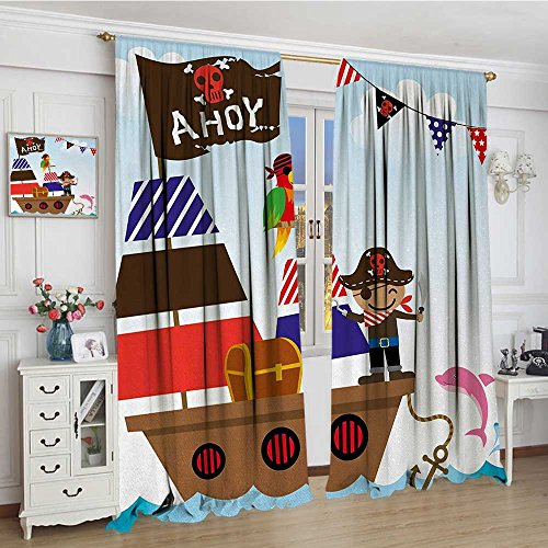 "smallbeefly Ahoy Its a Boy Window Curtain Drape Cute Pirate Kids Treasure Chest with Ship on Ocean Background Illustration Waterproof Window Curtain 108""x72"" Multicolor"