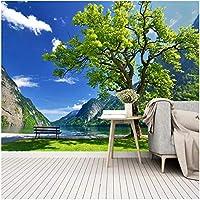 3Dの壁紙写真壁紙 緑の山の木の自然の風景 カスタム壁画 リビングルームテレビソファの家の装飾 -280x200cm/110x79inch
