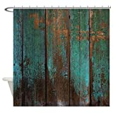 Vandarllin Country Rustic Distressed Teal Green Barn Wood FA Waterproof Shower Curtain 72' X 72'