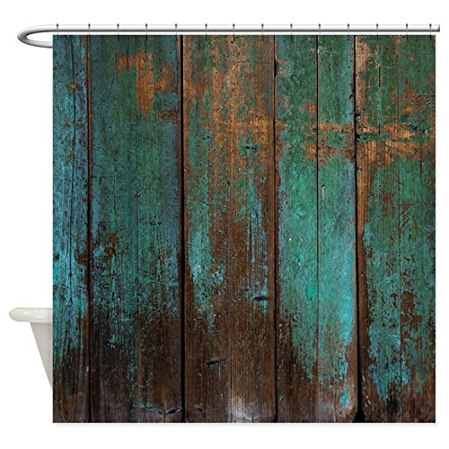 "Vandarllin Country Rustic Distressed Teal Green Barn Wood Fa Waterproof Shower Curtain 72"" X 72"""