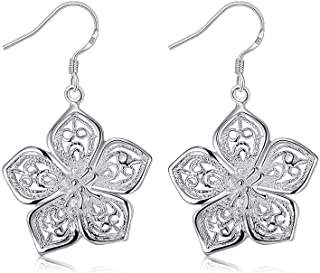NiceWave 1 Pair Bauhinia Pendant Earrings 925 Sterling Silver Ladies' Wire Earrings With Flower Pendant Earring Drops for Women Beautiful jewelry