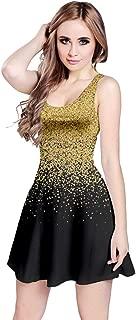 Womens Glitter Christmas Xmas Santa Deer Snow Winter Sleeveless Dress, XS-5XL