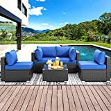Shintenchi Wicker Rattan Outdoor Patio All Weather Furniture w/Removable Cushions - 5 Pieces Set: Sofa Set & Tea Table [Dark Blue]