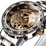 Watches, Men's Watches Mechanical Hand-Winding Skeleton Classic Fashion Stainless Steel Steampunk Dress Watch for Men