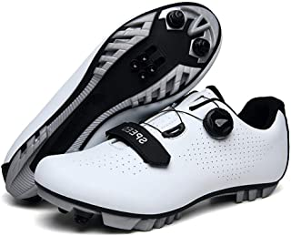 OneChange Mountain Bike Shoes, Mens Breathable Anti-Skid Cycling Shoes Lock System Bicycle Spinning Shoes for Road Riding (Color : White, Size : 13 UK)
