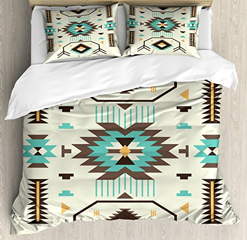 Ambesonne Southwestern Duvet Cover Set, Ethnic Illustration of a Zigzags Design Triangular Iconic Artwork Motifs, Decorative 3 Piece Bedding Set with 2 Pillow Shams, King Size, Pale Yellow