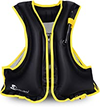 Adult Portable Inflatable Floatage Vest Swim Vest Life Jackets Life Vest Snorkel Vest Snorkeling Fishing Vest for Swimming,Drifting,Surfing,Diving, Boating,Kayaking,Canyoning