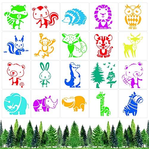 Qpout 20 Plantillas de pintura de animales para niños, Plantillas de pintura de animales de plástico reutilizables de...