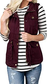 Womens Lightweight Sleeveless Military Anorak Drawstring Jacket Vest