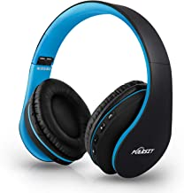 Bluetooth Headphones Wireless, Puersit Foldable and Light Weight Over Ear Headset,Wireless and Wired Headphones with Microphone for iPhone Samsung TV PC Laptop(Black-Blue)