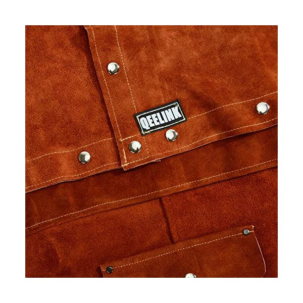 QeeLink Leather Welding Work Apron with Sleeve 4