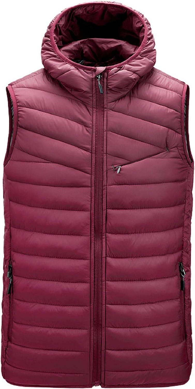 CHARTOU Men's Lightweight Hood Zip Up Chevron Packable Down Alternative Waistcoat Vest