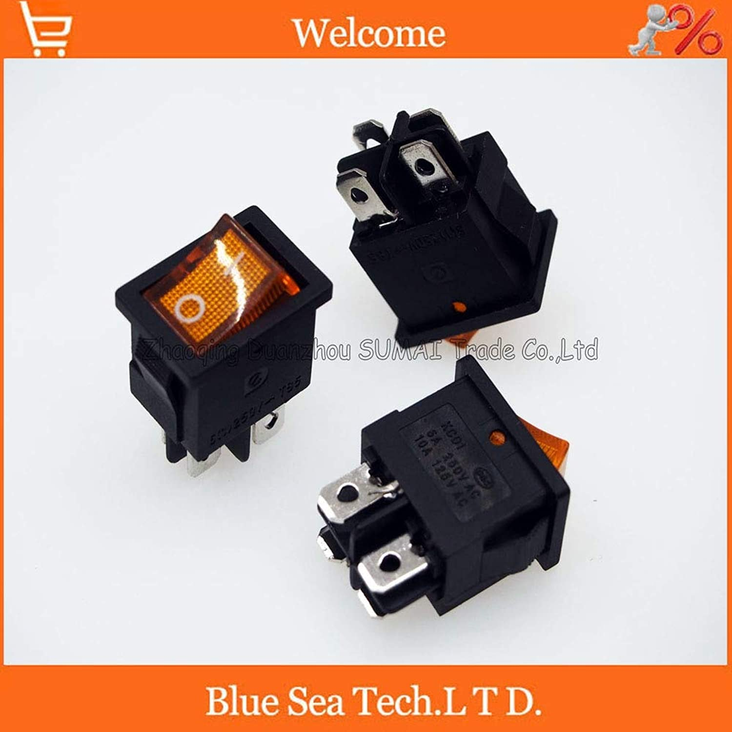 4 Pin LUMINATED Rocker Switch Yellow Light Button Switch for Power,car etc. 10A 125VAC,6A  250VAC,21  15mm  (color  10 PCS)