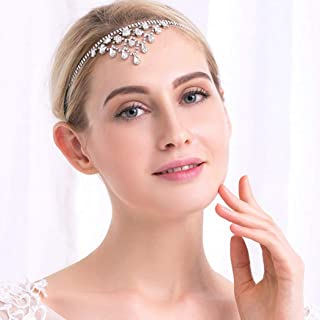 Aukmla Bridal Headdress Wedding Headband Silver Crystal Headpiece Forehead Jewelry for Brides and Bridesmaids HB-3
