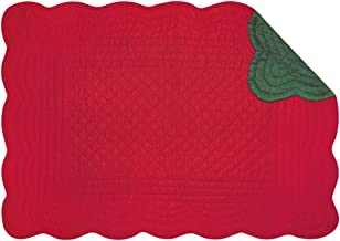 Set of 4 Pcs, 13x19 Inches Quilted Scallop Placemats, Red & Green