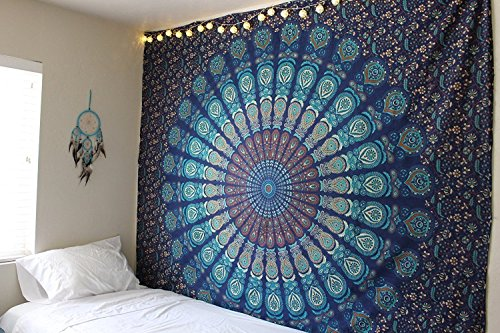 World Wide Kart indien Tapisserie hippie Bohème psychédélique Paon Mandala Décoration murale à suspendre Motif floral Unique tapisseries Home Decor Art Boho hippie Couvre-lit Décoration de Dortoir Tapis de yoga Serviette de plage Couverture de méditation