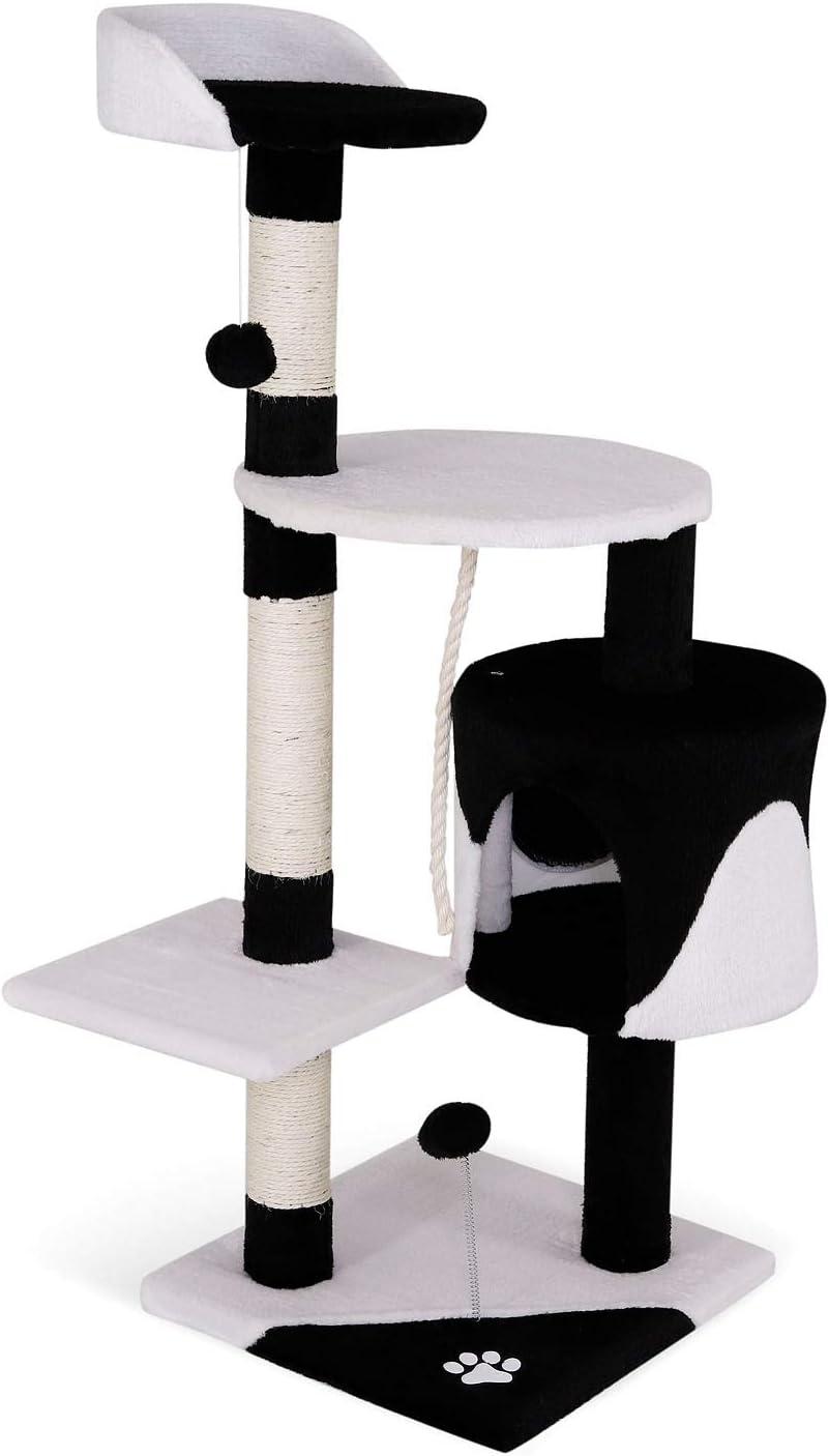 arbol rascador para gatos blanco y negro