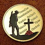 Moneda conmemorativa chapada en oro de 24 kt de la Primera Guerra Mundial conmemorativa, Cruz Poppy II con soldado de bandera de la unión, tanque, avión y el nombre de batallas famosas