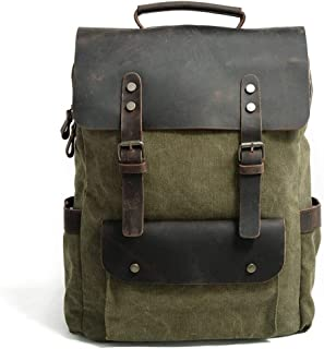 Canvas Camping Large Capacity Fashion Backpack Outdoor Travel Day Bag Travel Backpack (Color : Green, Size : 30cm*11cm*38cm)