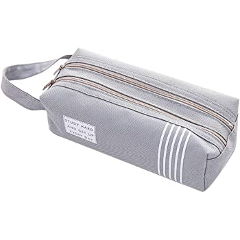 Haifly Solid Color Pencil Case Pencil Bag Stationery Storage Pouch Bag Case for Teenage Boys Girls Grey