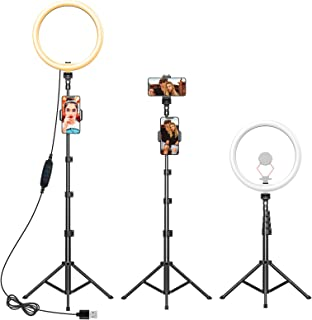 """Yoozon 12"""" Ring Light with Tripod Stand (74"""" Tall) & 2 Phone Holders, Selfie Ring Light,Tripod with LED Ringlight for iPho..."""