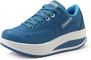 JACKSHIBO Womens Shape Ups Platform Shoes,Fashion Lace Up Fitness Walking Sneakers