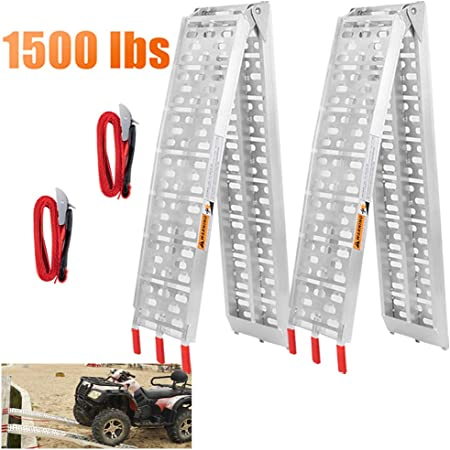 Pair 7.5 Four-section Folding Loading Ramps Aluminum Arched Ramps Truck Ramp Plate with Safety Straps 1500lb Capacity for Trailers Pickup Car Tailgate ATV UTV Motorcycle 4 Wheelers Harley Lawn Mower