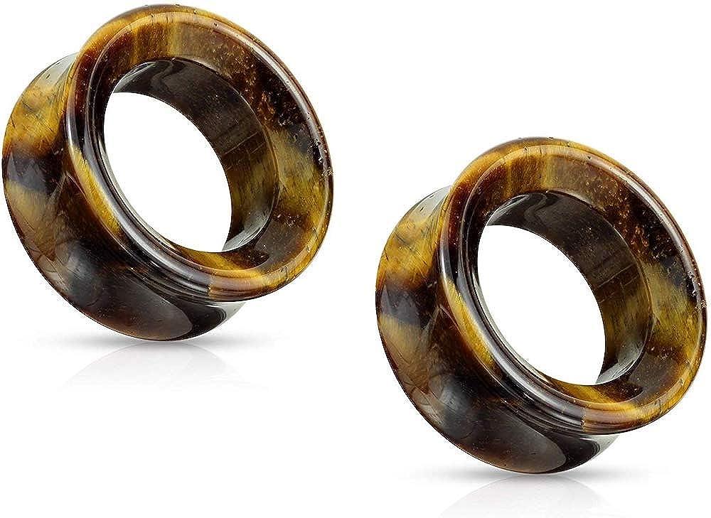 Covet Jewelry Semi Precious Tiger Eye Stone Double Flared Saddle Tunnel