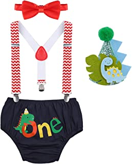 Baby Boy Dinosaur 1st Birthday Outfit Fishing Party Cake Smash Shorts Suspenders Bowtie Hat Dino Photo Props Costume