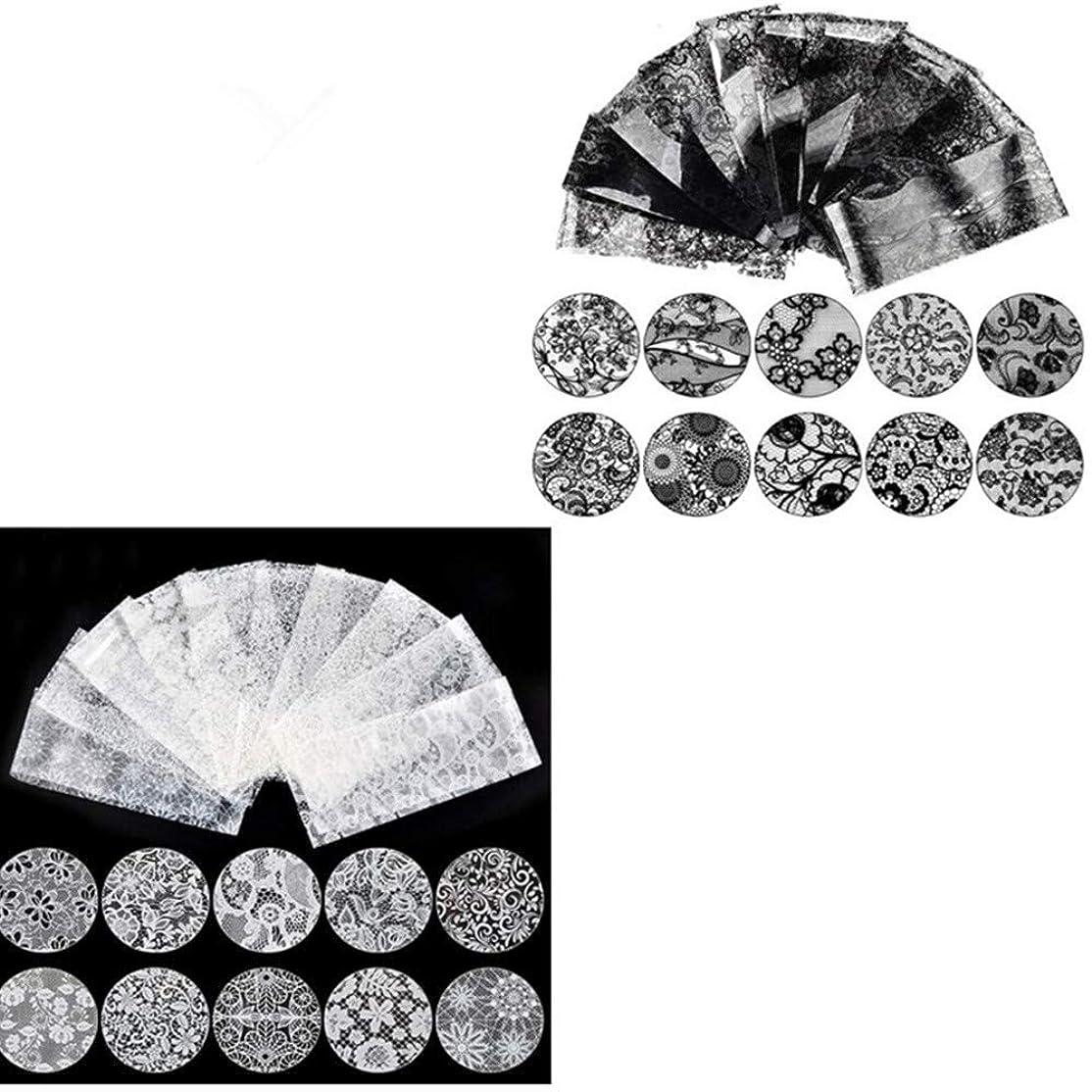割り当てます独立してアクチュエータネイルホイル ネイルステッカー ネイル転印シール ネイルツール ネイルステッカー ネイルデコ ネイルアート ホワイトレース(10枚)+ブラックレース (10枚) 20枚/セット