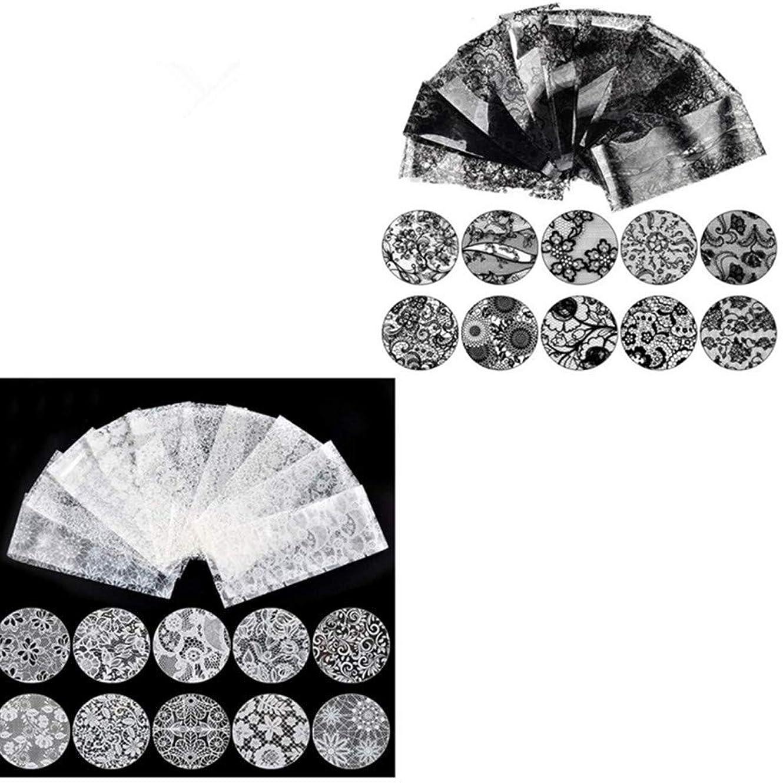 報酬の止まるマーベルネイルホイル ネイルステッカー ネイル転印シール ネイルツール ネイルステッカー ネイルデコ ネイルアート ホワイトレース(10枚)+ブラックレース (10枚) 20枚/セット