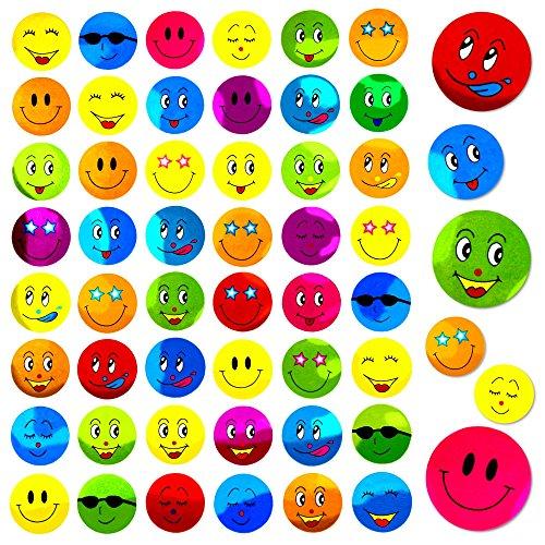 Oblique Unique® 480 Smiley Sticker - Freude Positiv Frech Bunt Deko Verzierung Basteln Kinder