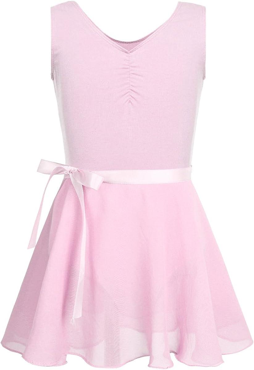 iEFiEL Girls Sleeveless Gymnastics Leotard Dance Outfit Kids Ballet Tutu Dresses with Chiffon/Mesh Wrap Skirt