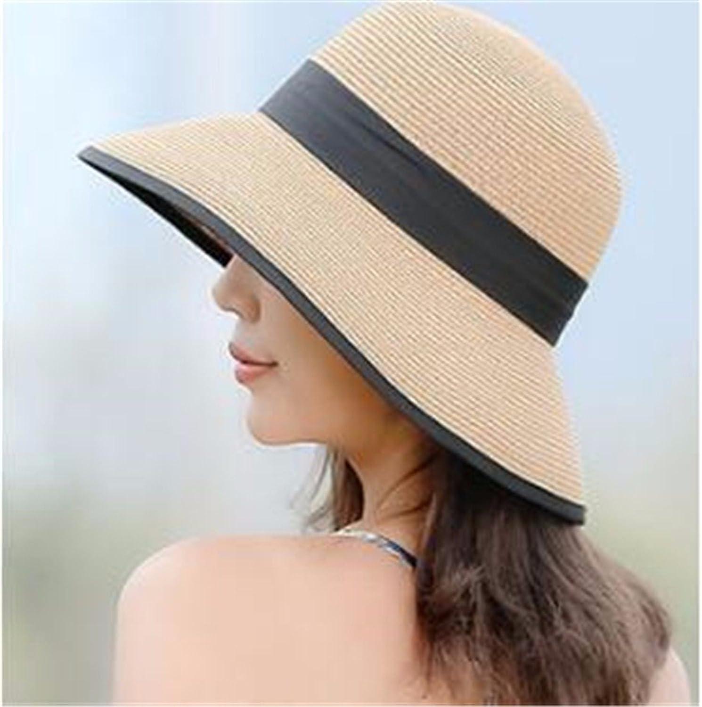 Women Hat Summer Fall Sonnenhut Des Strohhuthutstrandhutes Im Freien Faltender Sonnenblende Britischer Bogen Breiter Hut Brimmed Khaki