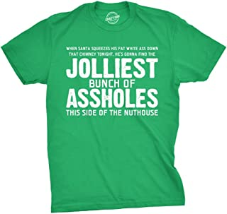 Jolliest Bunch of A-Holes T Shirt Funny Sarcastic Christmas Novelty Tee for Guys, Green, X-Large