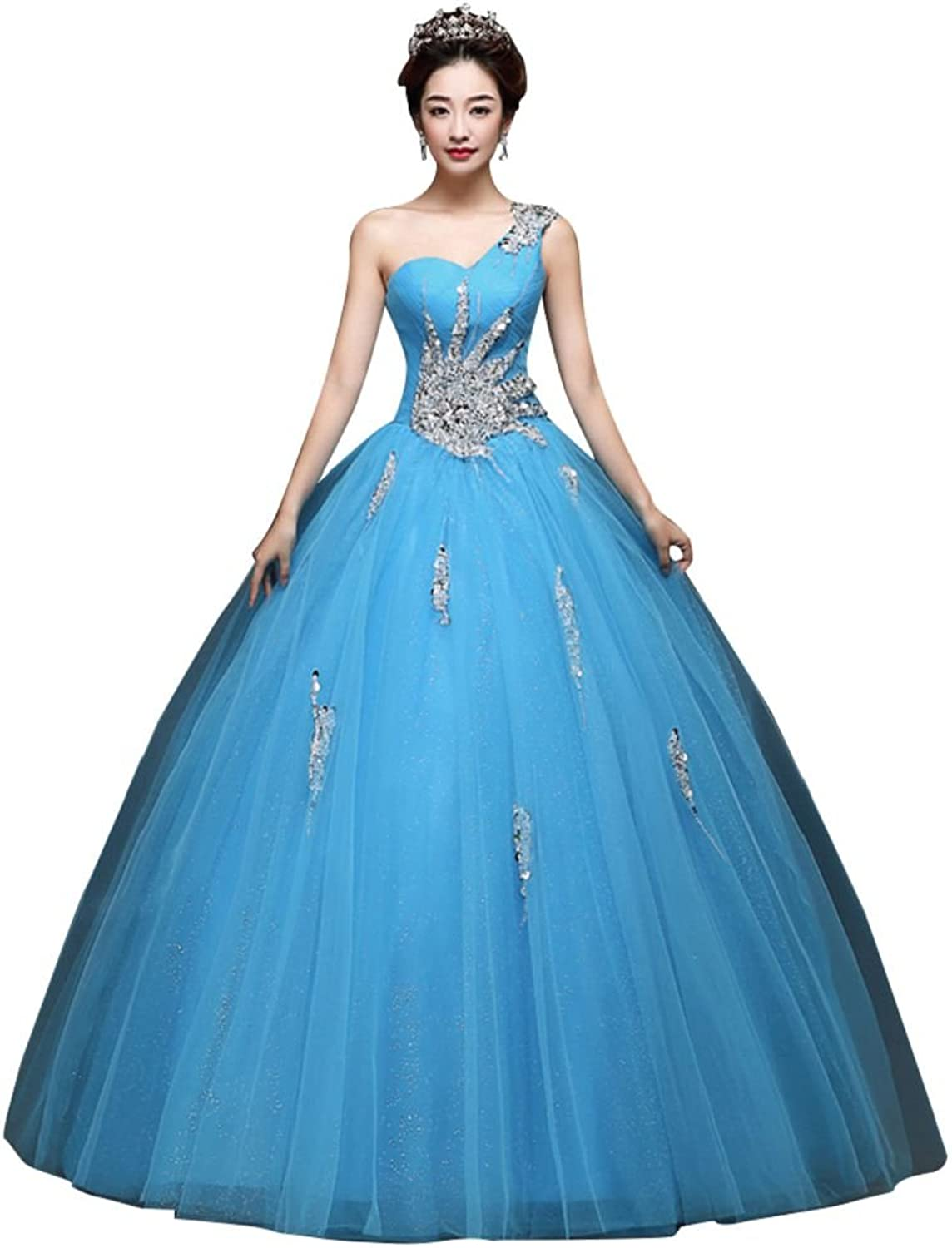 BeautyEmily One Shoulder Ball Gown Beads Sweet Quinceanera Dresses